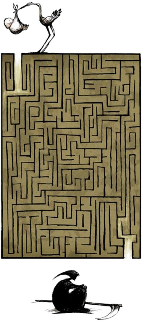 Maze of life - Livets labyrint - Stork med baby, der skal finde manden med leen