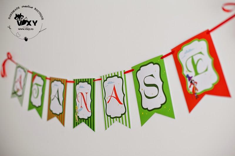 ghirlanda Peter Pan, ghirlanda personalizata, produse petrecere Peter Pan, tema botez Peter Pan si clopotica