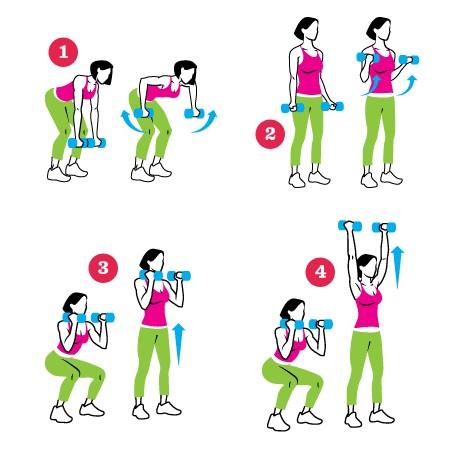 Упражнения с гантелями для девушек дома
