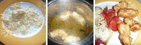Makkelijk recept om aardappelkroketten te maken, gepaneerd met bloem, eiwit en amandelschilfers