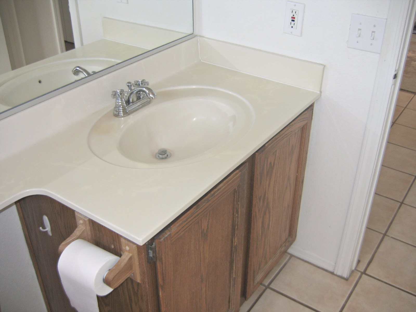 All in one bathroom - Nasty Outdated All In One Sink Countertop Old Cabinet If You Notice Theres Only One Outlet In This Picture Its So Nice That Handy Hunk Is An