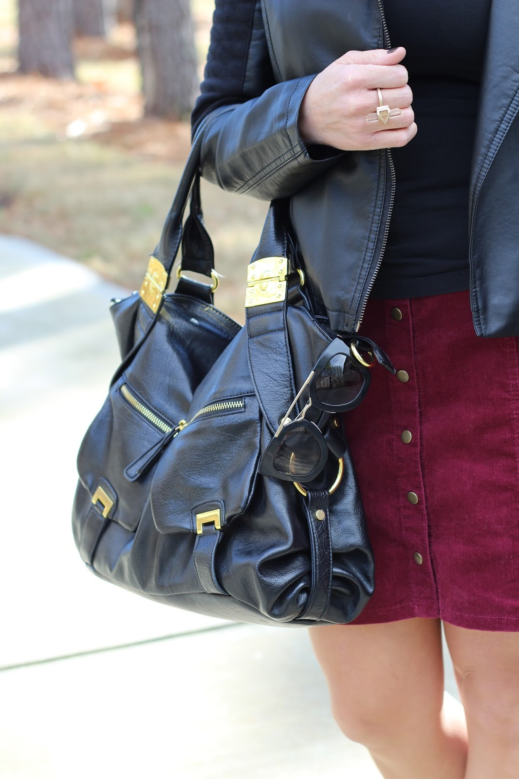 Black and Gold Hobo bag, corduroy skirt, prada sunglasses