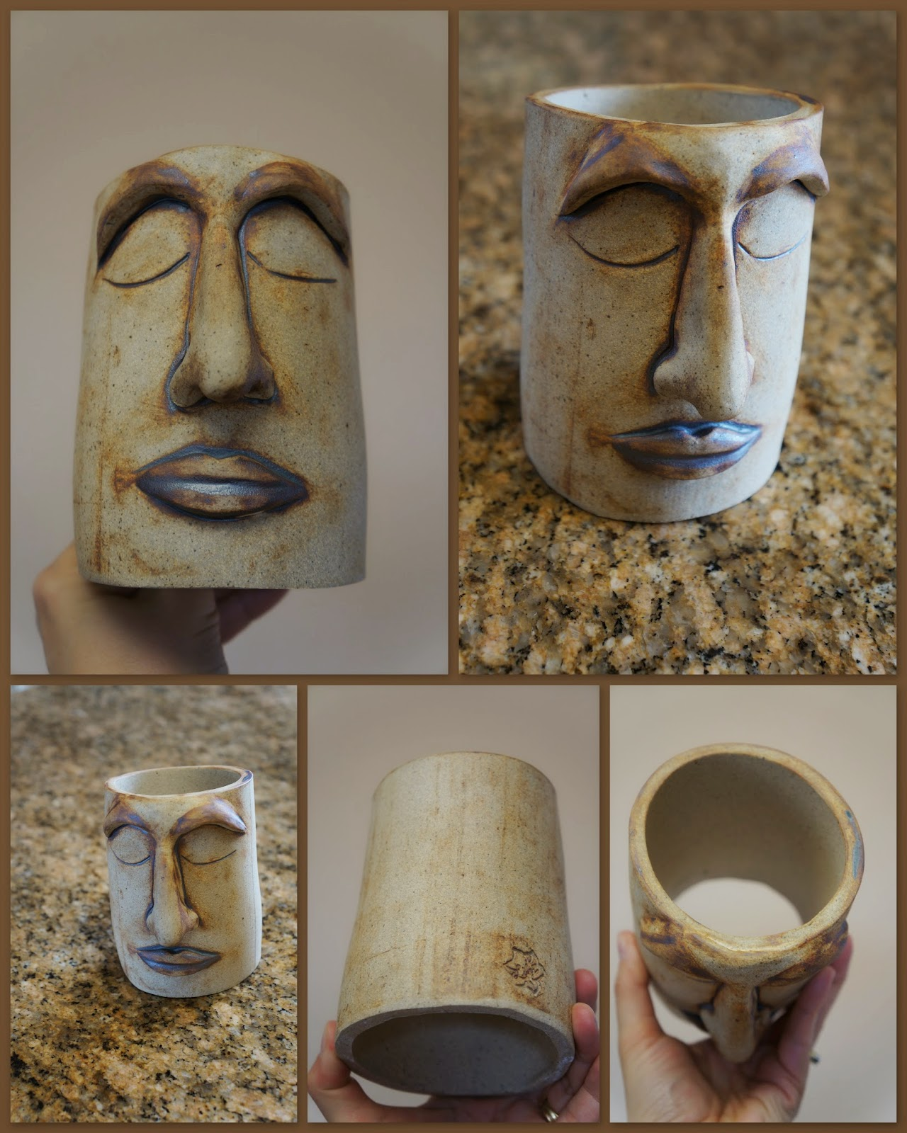 Handmade stoneware clay face for a garden planter