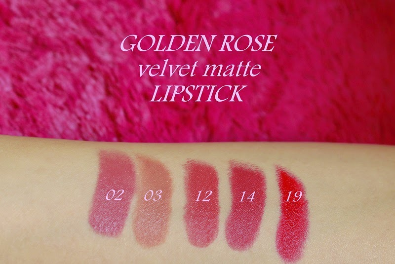 golden rose velvet matte pomadki lipstick kolory swatche odcienie