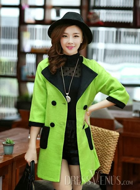 Cute Latest Style Assorted Colors Woolen Lapel Trench Coat