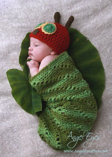Very Hungry Caterpillar Crochet Hat Pattern Free : Baby Crochet and Photo Props : HappyBabyCrochet
