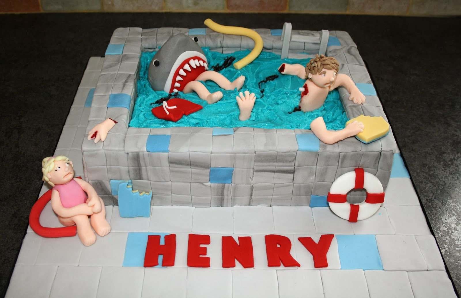 Cake Time Gruesome Shark Attack Swimming Pool