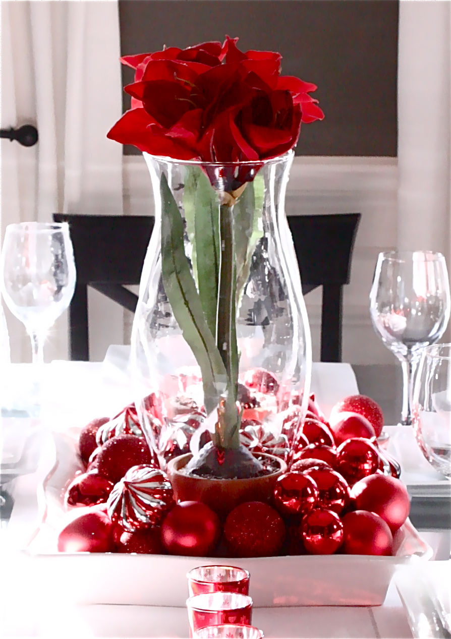 The yellow cape cod easy valentines centerpiece using christmas decor - Red centerpieces for tables ...