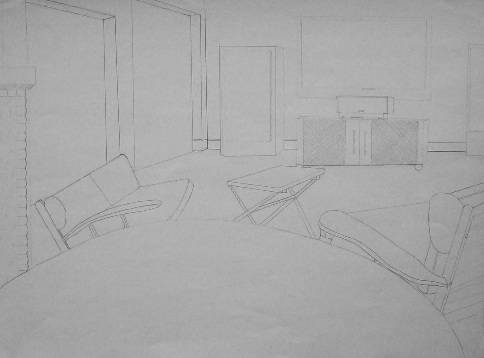 Amanda morley 39 s drawings perspective interior and exterior for Exterior 1 point perspective