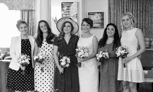 Vintage bride Clare with her beautiful family