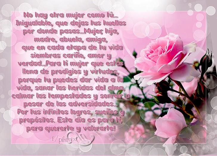 Mujer inigualable - Imagen con texto - rosas, día de la mujer