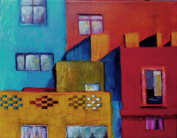 Acrylic painting of buildings called Shapes and Colors