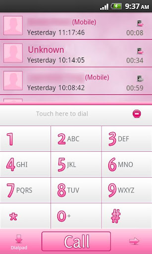 GO Contacts EX Pro Pink Theme v1.00 (1.00) Android Apk