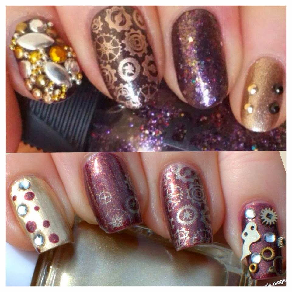 Essie Good as Gold with Aldi Five Star Bron-zite with Bundle Monster stamping and steampunk nail art.