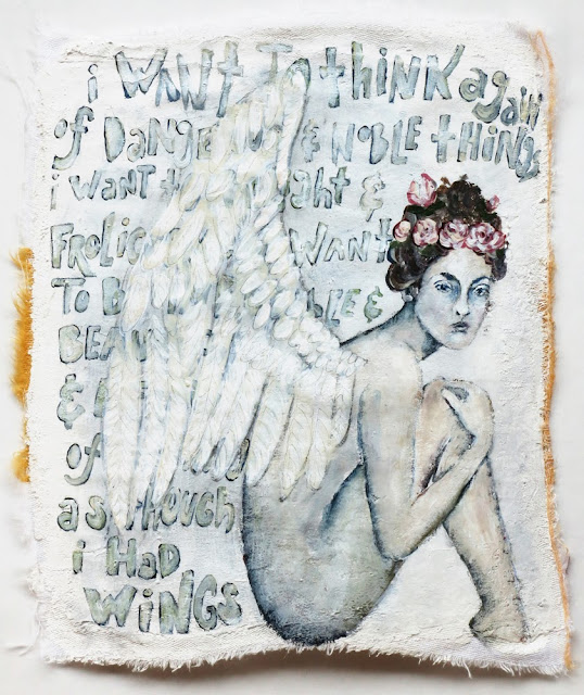 Galia Alena mixed media painting of an angel and a mary oliver quote