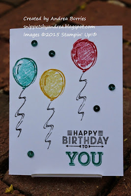 One-layer birthday card made with the Sketch a Party and Sew You stamp sets.