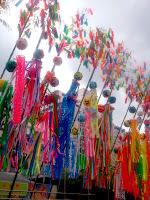 Bamboo and paper decorations at Shonan Hiratsuka Tanabata Matsuri (Hiratsuka city, Kanagawa prefecture, Japan) on 08 July 2012. Photo by Sébastien Duval.