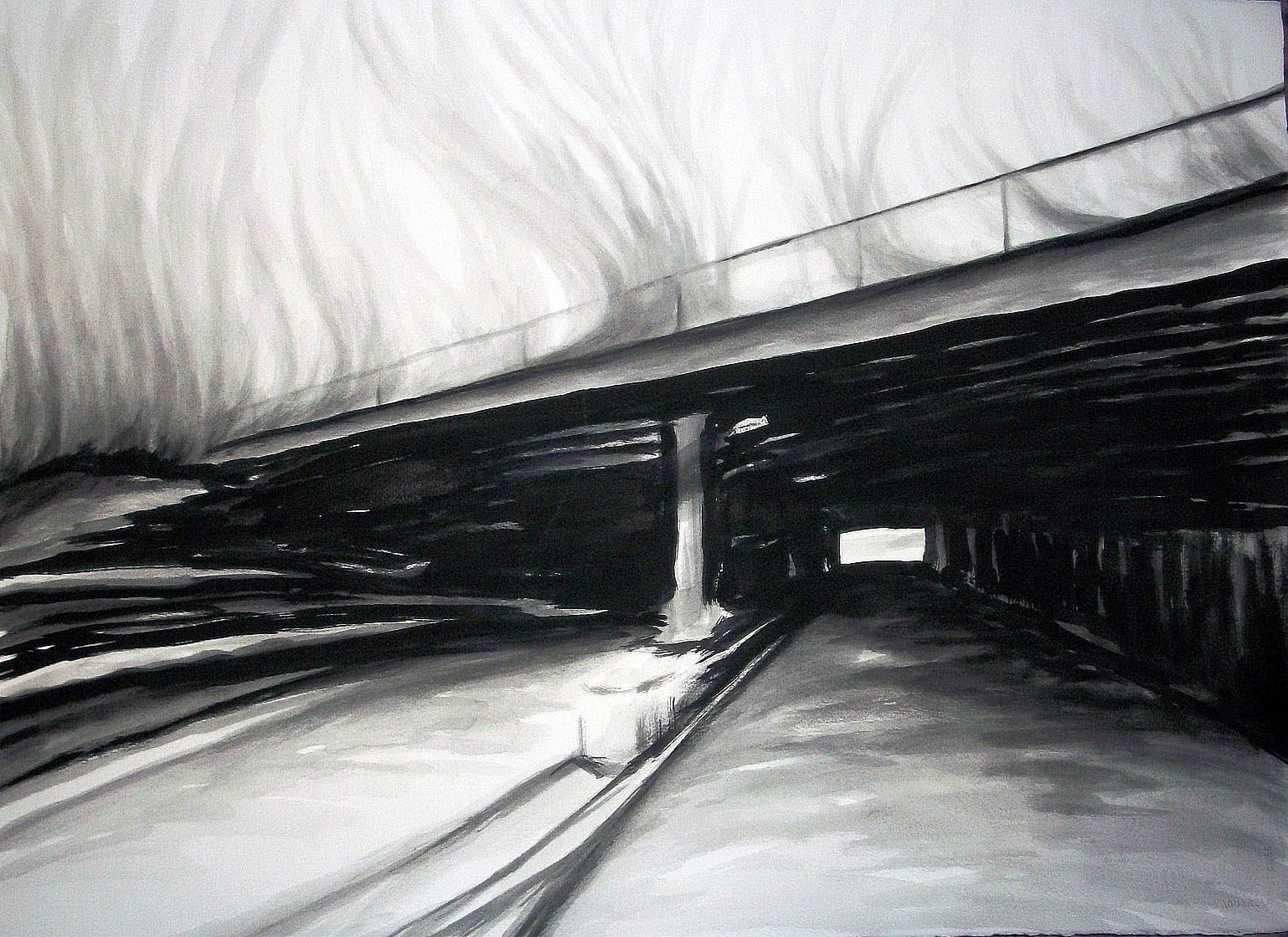 train bridge, viaduct, pen and ink, watercolor wash, watercolor ink