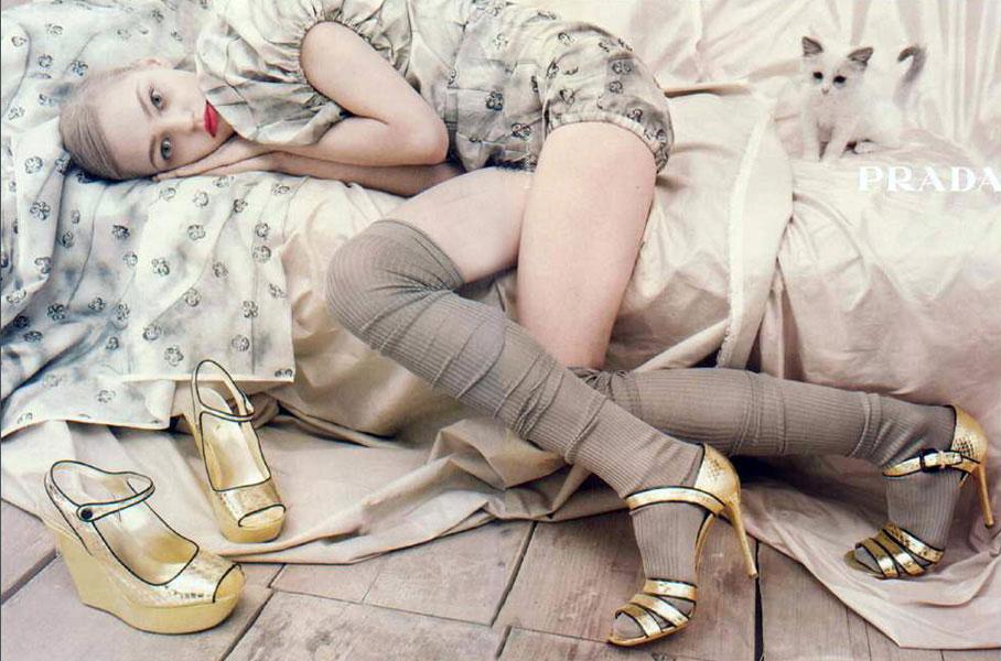 Sasha Pivovarova photographed by Steven Meisel for Prada Spring 2006 campaign