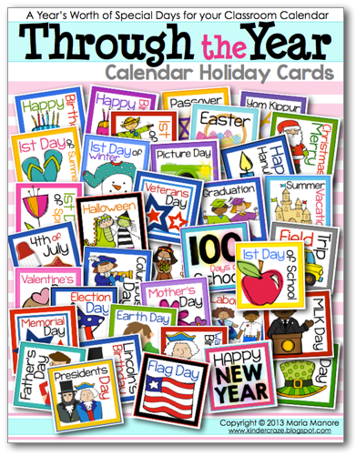 Holiday cards for a classroom calendar