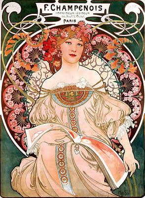 publicidad vintage cartel de Alfons Maria Mucha