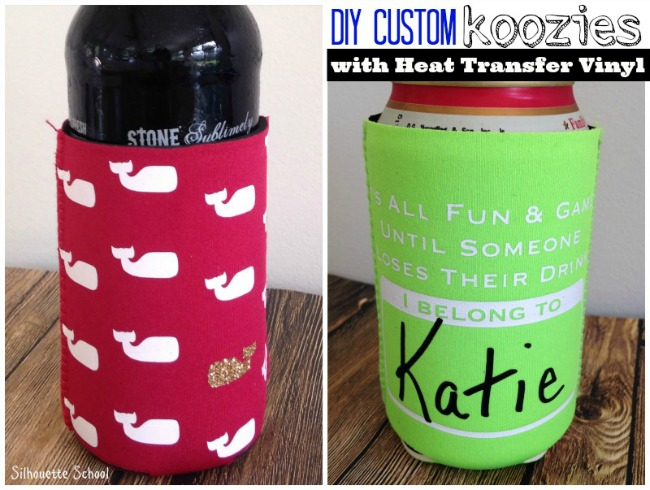 DIY Custom Koozies with Heat Transfer Vinyl (Free Silhouette ...