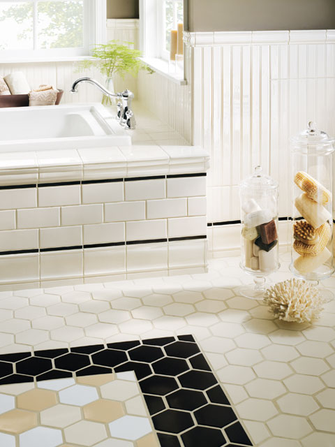 The overwhelmed home renovator bathroom remodel subway for Bathroom floor ceramic tile designs