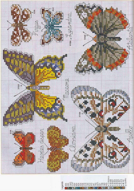 Hobby lavori femminili ricamo uncinetto maglia for Piccole farfalle punto croce