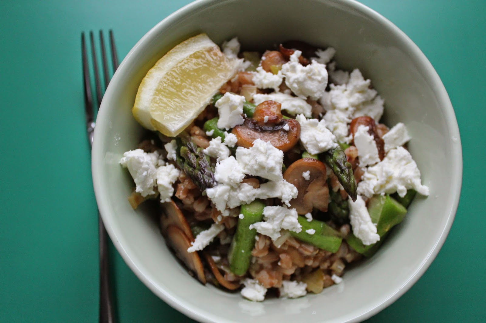 "Farro ""risotto"" with mushrooms, asparagus, and goat cheese"