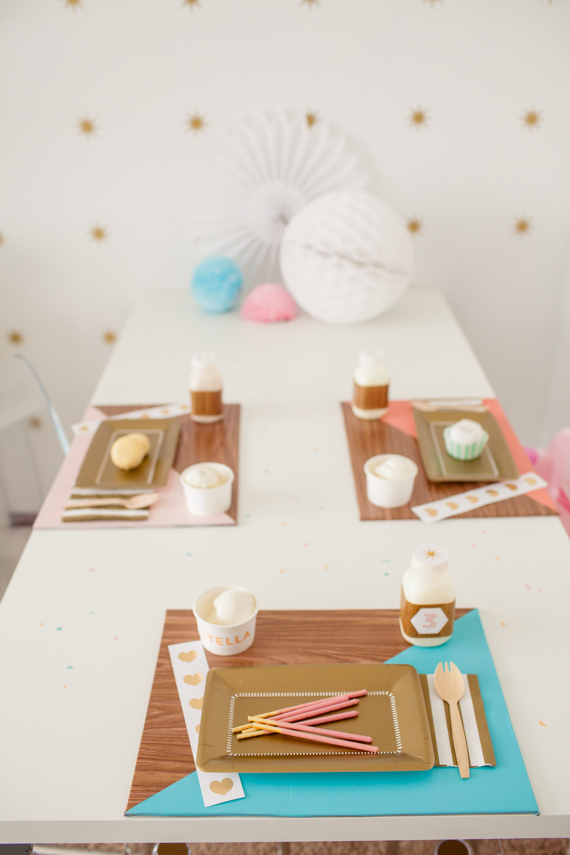 A bright birthday bash and dessert table with a modern twist of wood and color blocking. | Shauna Younge of Sweet Tooth  | pics: Sydnee Bickett