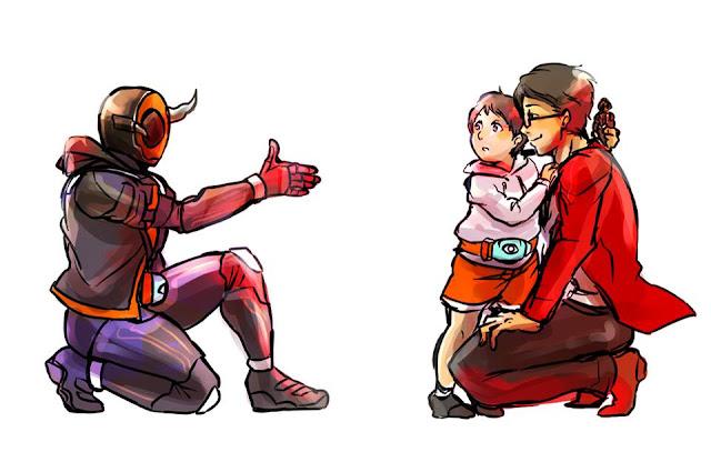 Gambar, Ilustrasi, Kamen Rider, Ksatria Baja Hitam,  Masa Kecil, Kamen Rider Ghost