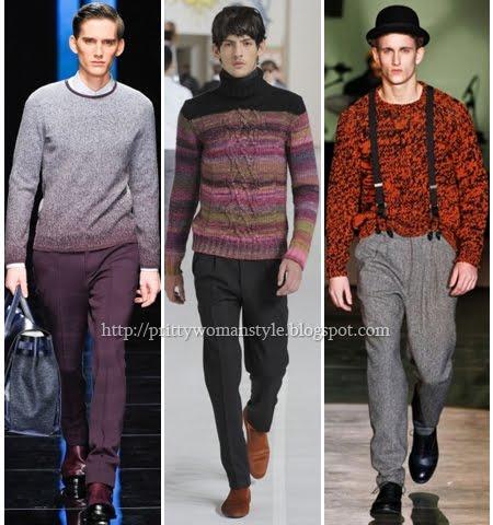 Мъжки пуловери меланж и многоцветна прежда