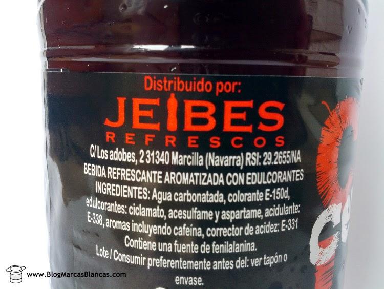 Ingredientes del refresco de cola con cero azúcares Hacendado de Mercadona fabricado por Jeibes.