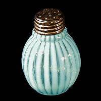 EAPG Blue Opalescent Striped Salt Shaker