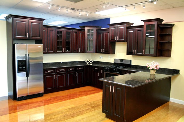 kitchen Design Decorated with Brown Purple Kitchen Cabinets
