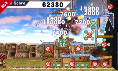 Image of target blast minigame and points accrued