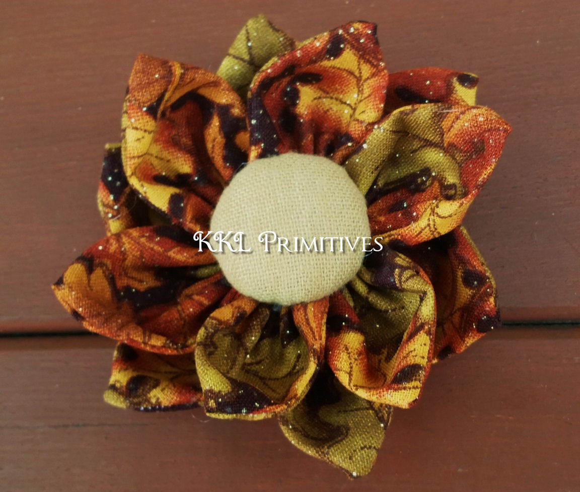 5 DOUBLE LAYERED AUTUMN COLORED FABRIC FLOWER BOWL FILLERS