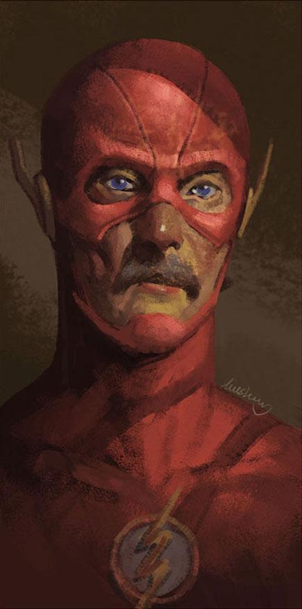 Super-Heróis envelhecidos - pintura - Eddie Liu