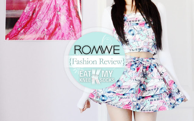 Today's fashion review features a cute, Harajuku-style pop art crop top and skirt set from Romwe, reviewed by Eat My Knee Socks/Mimchikimchi.