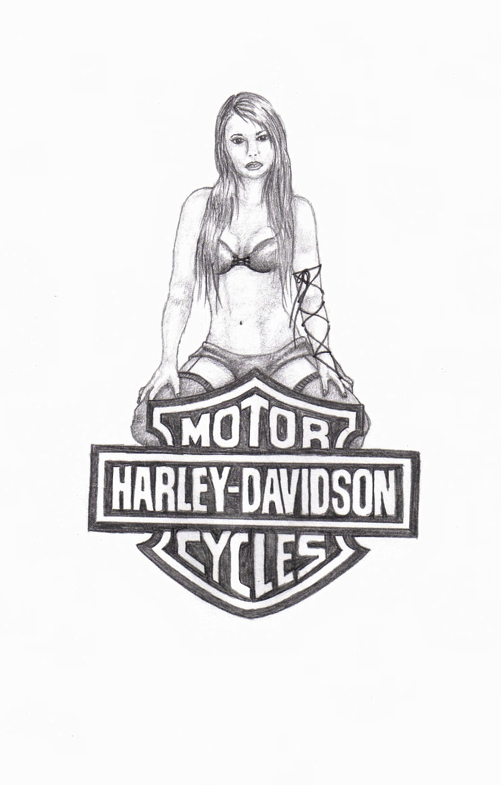 Femme arts catching you up with bitches and other tattoos i currently work at hobby lobby kind of ironic he wanted a realistic looking pin up girl as well as incorporating the harley davidson freerunsca Images