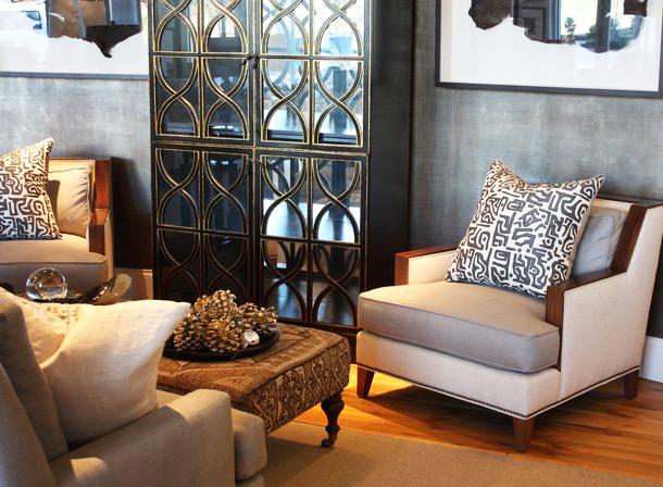 Black geometric wallpaper for Beige living room wallpaper