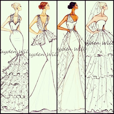 hayden williams fashion illustrator wedding dress sketches drawing illustrations