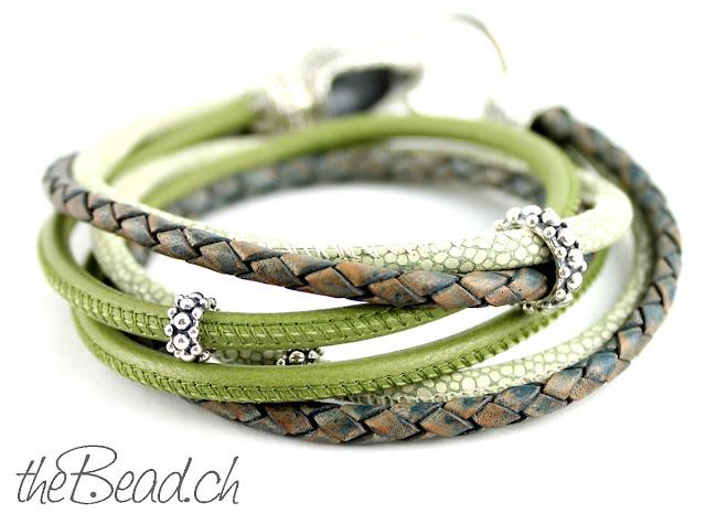 Schlangen Armband mit verschiedenen Lederarten und 925 Sterling