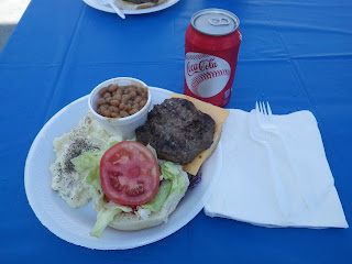 My cheeseburger with the fixin's with potato salad and baked beans.