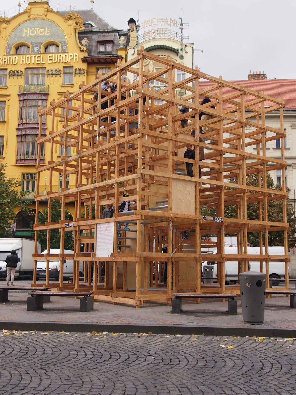 A giant wooden cube in Prague
