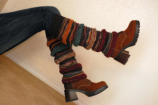 wearing colorful boot socks / leg warmers