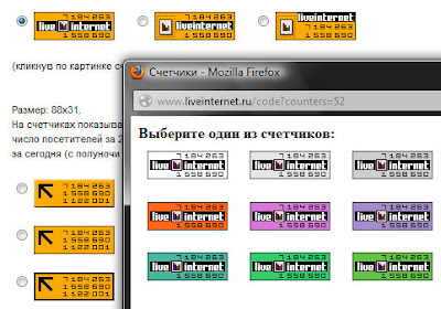 выбор цвета, типа и размера счётчика LiveInternet