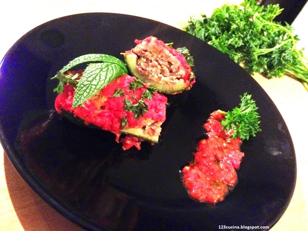 zucchine ripiene di fagioli e menta