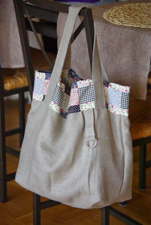torba lniana , len na torbe, ekologiczna torba , torebka rękodzieło