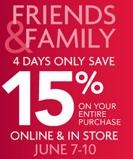 15% off Entire purchase 4 days Only 